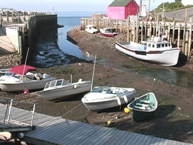 boats on ground at low tide in fundy bay
