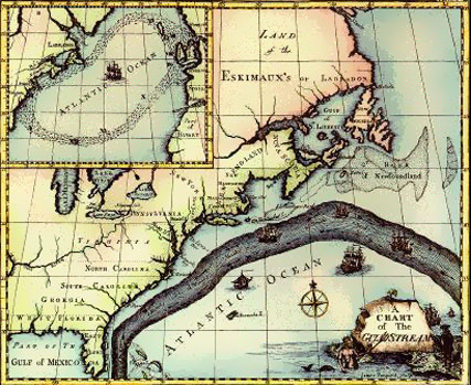 map of the gulf stream created by Franklin and Folger