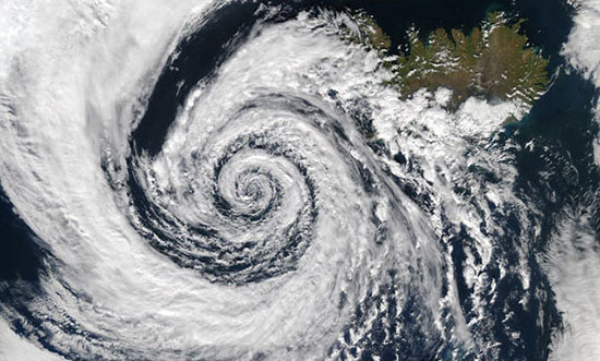 swirl of clouds near iceland described in following text