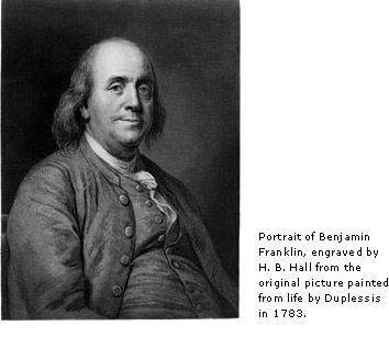 portrait of Benjamin Franklin, engraved by H. B. Hall from the orginal picture painted from life by Duplessis in 1783.