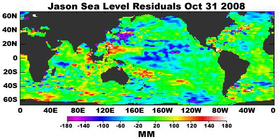 sea levels collected by the Jason-1 mission on February 22, 2005