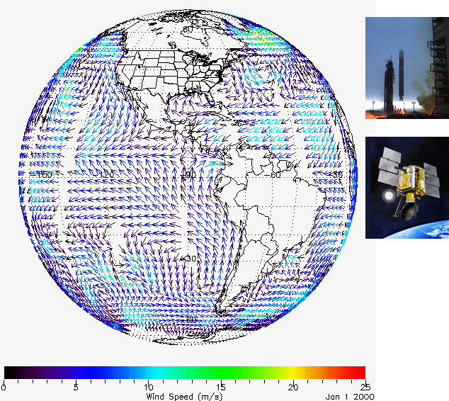 wind speeds displayed over the Earth's surface, a rocket, and a satellite