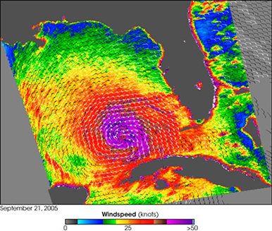 hurricane rita windspeeds over gulf of mexico september 21, 2005