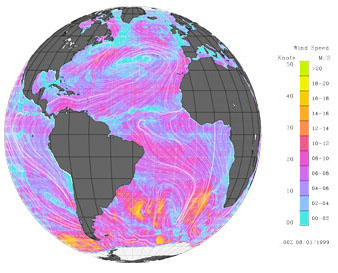 quickscat image of ocean surface winds
