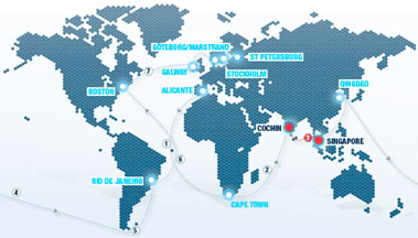 map of ports used during Volvo Ocean Race