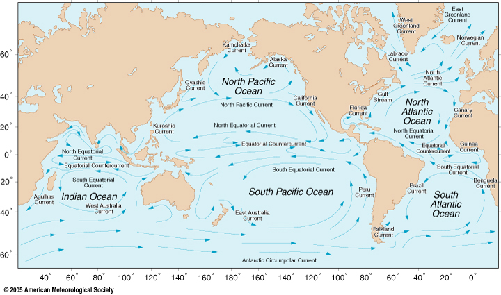 Ocean Motion And Surface Currents - World map oceans labeled